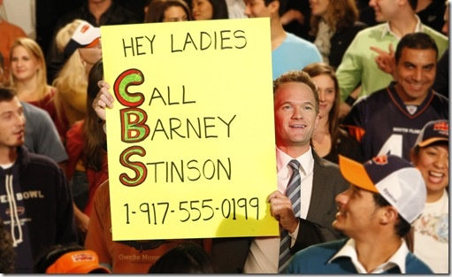 Superbowl 44 Call Barney Stinson